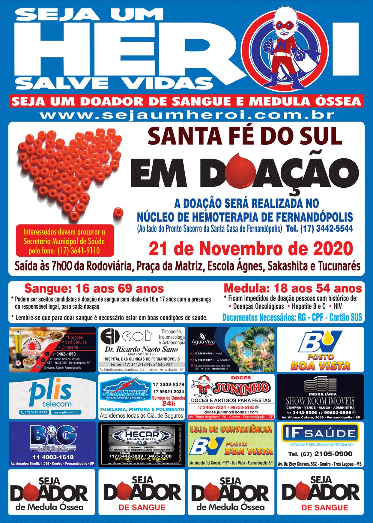 Santa Fé do Sul em Doação 21 de Novembro de 2020